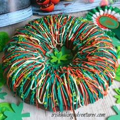 A very delicious & pretty St Patrick's Day Cake made with lemon and ricotta cheese. Baked in a ring tin and drizzled with melted coloured white chococlate Melting White Chocolate, Chocolate Drizzle, Chocolate Coating, Cake Pictures, Food Pictures, Hobnob Biscuits, Citrus Lemon, St Patricks Day Cakes