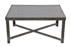 oversized c. 1940's repurposed american vintage industrial brushed and sanded bare metal four-legged stationary coffee table reinforced with cross-bracing - Coffee Tables - Repurposed Furniture - Products
