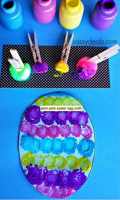 hip hop hen: Easter craft - pompom painting