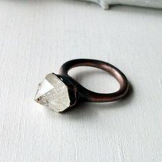 Handmade copper ring with raw tibetan quartz crystal