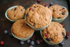 Blueberry, Cranberry Red Fife Muffins (Dairy, Egg, Refined Sugar Free)