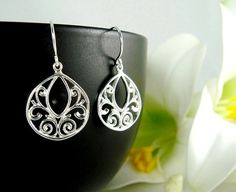 Dainty Filigree Sterling Silver Earrings Birthday by hotmixcold, $23.00