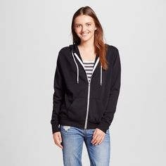 Women's Zip Up Sweatshirt Black Xxl - Mossimo Supply Co.