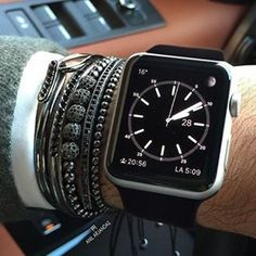 Black and Grey All Day! 50 Shades of Grey. Beautiful Bracelet combinations with Black banded Apple Watch! <3 <3 <3 @ tag like share and follow for more Apple Watch fashion styles. #iwatch #applewatch #fashion #bracelets #wristgame #wristporn #bandswag #swag #hipster #applewatches #applefan #wristwatch #wristband #beads