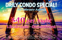 Just Released! CALL NOW 800-525-0225 and take advantage before it's gone! #MyrtleBeach #February #oceanfront #condo #deal