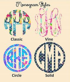 """2"""", 3"""", 4"""" and  5"""" Lilly Pulitzer Print Vinyl Decals - You pick the pattern, Monogram Style and Size !  Waterproof, outdoor vinyl on Etsy, $5.50"""