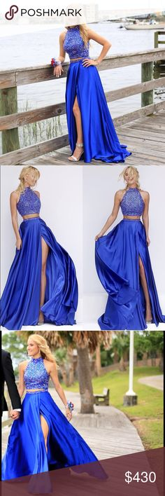 """FOR RENT ONLY Beautiful Sherri Hill prom dress! A royal blue two piece Sherri Hill prom dress! It's a size 2-4 and it's absolutely breathtaking and very comfortable! The dress has a """"hidden"""" slit and only shows if you want it too, and also has pockets! Sherri Hill Dresses Prom"""