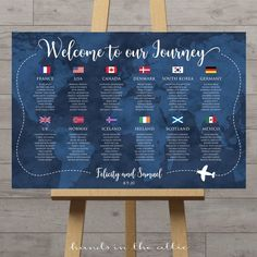 Travel theme wedding seating chart with world map background and flags, tables by country or city, navy blue, customized printable DIGITAL – Wedding Planning Organization Reception Seating, Seating Plan Wedding, Seating Plans, Table Seating Chart, Country Names, Welcome To Our Wedding, Event Themes, Travel Themes, Wedding Guest Book