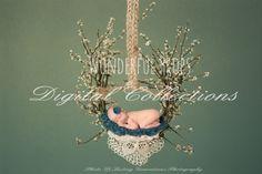 Wonderful Props - Spring Hanging Nest  - Digital Backdrop - Floral Nest Prop for Newborn Photography