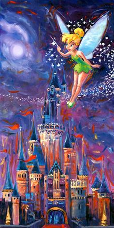 Tinkerbell spreading pixie dust is my laughing place...and, at Our Laughing Place Travel, we make it our mission to spread pixie dust all over your vacation! www.olptravel.com #ldisneyart #disney