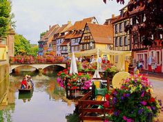"""Colmar, France - Referred to as """"Little Venice"""" due to the waterways that wind through medieval streets. This well-preserved Alsatian village is also considered the capital of wine in the district, known for its exquisite aromas. It has both German and French influences – you'll find local bakeries selling kugelhopf and croissants, while eateries often specialize in sauerkraut and foie gras. Various architectural styles can also be seen, from French Neo-Baroque to German Gothic."""