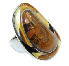 $95.15 Big!+Beautiful+AAA+Tigers+Eye+Sterling+Silver+ring+s.+9 at www.SilverRushStyle.com #ring #handmade #jewelry #silver #tiger'seye