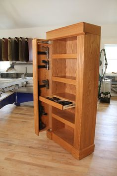 QLine Design builds heirloom quality, customizable concealment furniture & shelving systems that can secure jewelry, firearms & other valuables in plain sight! Plywood Furniture, Furniture Projects, Cool Furniture, Furniture Design, Hidden Gun Storage, Secret Storage, Extra Storage, Hidden Gun Cabinets, Secret Compartment Furniture