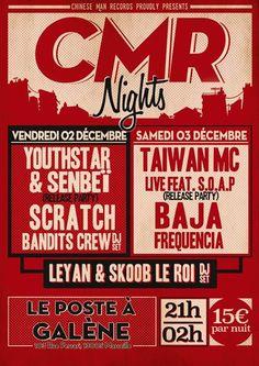 Chinese Man Records débarque au Poste à Galène les 2 et 3 Décembre !! va pas falloir tarder à prendre ses places .. !! CMR Nights - préventes : http://ift.tt/2g9dwxK