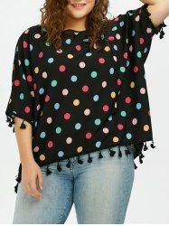Plus Size Colored Polka Dot Tassel Chiffon Blouse