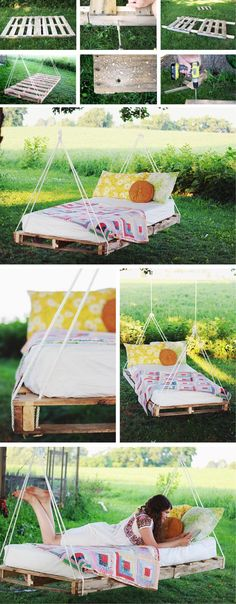 Hängendes Bett aus Paletten selber bauen - DIY Anleitung
