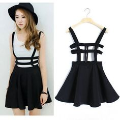 Women Pleated Suspender Skirt Braces Hollow Out Bandage Mini Skater Dress Zy