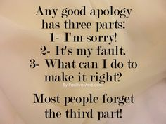 A Good Apology has 3 parts!