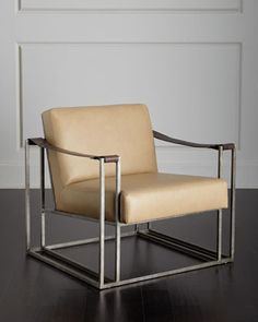 Declan Tan Leather Chair by Bernhardt at Neiman Marcus.