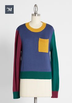 Fall Sweaters, Pullover Sweaters, Casual Tops, Casual Wear, Crayon Box, Color Block Sweater, Cropped Sweater, Sweater Weather, Cute Tops
