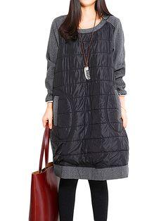 c07c2f09b71 Women Pocket Loose Patchwork Long Sleeve O-neck Cotton Dress