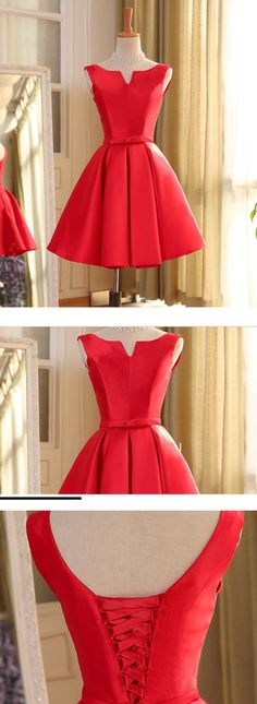 red homecoming dress party dress, 2017 short red