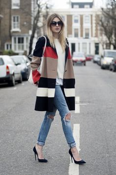 Camille Over the Rainbow: The comeback of the coat | Jaeger coat; Acne knit; LNA tee; Isabel Marant mesh top; Jimmy Choo pumps, tote and sunnies; H&M jeans