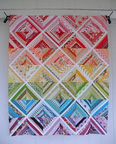 log cabin scrappy string quilt
