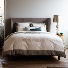 DwellStudio Modern Border Smoke Duvet Cover | DwellStudio