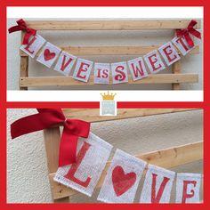 Valentines Burlap Banner Love Banner Love is by QueensBanners
