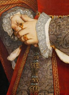 Detail from Portrait of Jane Seymour, Queen of England. By Hans Holbein the Younger, 1536. #VonGiesbrechtJewels