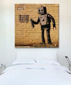 Another great find on #zulily! Banksy Coney Island Barcode Robot Yellow Gallery-Wrapped Canvas by Banksy #zulilyfinds