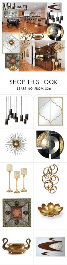 """METAL-LUXURY"" by kalenalexis ❤ liked on Polyvore featuring interior, interiors, interior design, home, home decor, interior decorating, Alpine, Universal Lighting and Decor, Warehouse and Godinger"