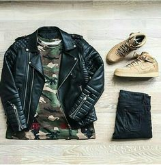 Outfit grid - Leather & camo