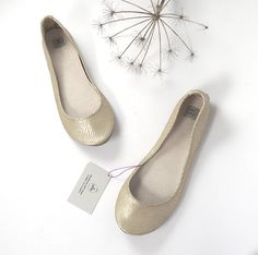 Dull Gold Snake Print Leather Handmade Ballerinas