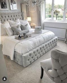 upholstered beds decor - upholstered beds - upholstered beds master bedroom ideas - upholstered beds master bedroom - upholstered beds decor - upholstered beds diy - upholstered beds with storage - upholstered beds grey - upholstered beds farmhouse Grey Bedroom Design, Grey Bedroom Decor, Bedding Master Bedroom, Stylish Bedroom, Room Ideas Bedroom, Home Bedroom, Silver And Grey Bedroom, Grey Bed Room Ideas, Glam Bedding