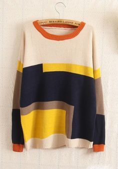 Love the color blocking and the bright pops of yellow. #sweaters #comfy #comfysweaters