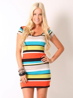 Multi Stripe Mini #Dress