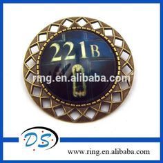 Movie Jewelry Dome Glass Cabochon Brooches Door Sherlock Brooch 221B Vintage Brooch With Pin #221b, #door