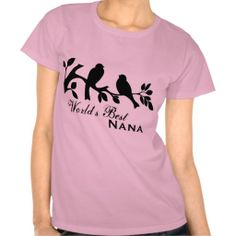 World's Best Nana sparrows on a tree branch silhouette graphic organic t-shirt.