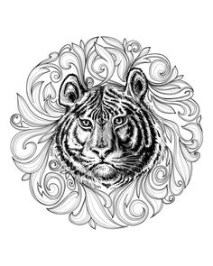 Free coloring page coloring-adult-africa-tiger-leaves-framework. Tiger head in middle of a superb framework made of leaves