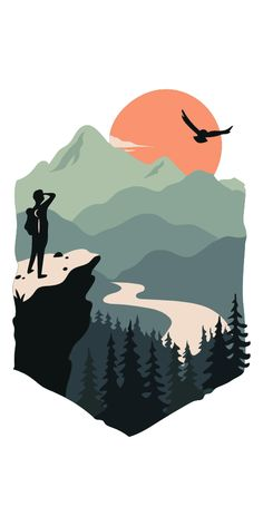 Having overcome the difficulties of climbing, you deservedly get magnificent views. Trekking sticker with a traveler who looks at the beautiful nature.. #Nature #Mountains #Trekking #Hiking #Travel Landscape Illustration, Graphic Design Illustration, Digital Illustration, Nature Illustration, Mountain Illustration, Travel Illustration, Portrait Illustration, Natur Wallpaper, Diy Canvas Art