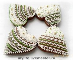 I think these are cookies; but since I don't speak Russian, I haven't the foggiest. I think they are pretty & are some good ideas for me for bead embroidery. Heart Cookies, Cut Out Cookies, Iced Cookies, Valentine Cookies, Christmas Cookies, Valentines, Piping Patterns, Sugar Beads, Gingerbread Decorations