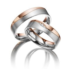 1 pair of wedding rings - alloy: rose gold 585 / - white gold 585 / - width: - height: - set with stones: 3 brilliants totaling ct. tw, si (ring 1 with stone trimming, ring 2 without trimming) Cool Wedding Rings, Wedding Rings Rose Gold, Wedding White, Couple Bands, Jewelry Quotes, Wedding Accessories, Women Jewelry, Rings For Men, Jewelry Design