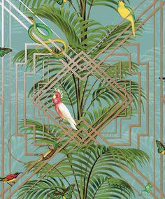 Congo Teal wallpaper by Albany Funky Wallpaper, Art Deco Wallpaper, Bathroom Wallpaper, White Wallpaper, Designer Wallpaper, Beautiful Wallpaper, Florida Wallpaper, Tropical Wallpaper, Wallpaper Panels