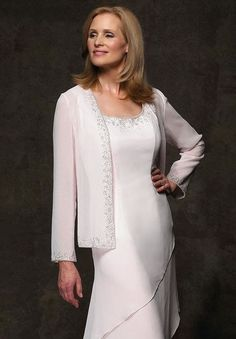 Most mother of the bride evening dresses are made with long sleeves. Replicas & custom formal evening wear for mothers of groom available.