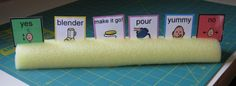 pool noodle card holder. Repinned by SOS Inc. Resources.  Follow all our boards at http://pinterest.com/sostherapy  for therapy resources.