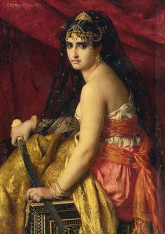 """Painting of the Day! Gabriel Joseph Marie Augustin Ferrier (1847-1914) """"Judith"""", Oil on Canvas, 1875. - To see more works by this artist please visit us at: http://www.artrenewal.org/pages/artist.php?artistid=7082  - Share your favorite old master works with us on our Pinterest page! http://www.pinterest.com/ArtRenewal/share-your-favorite-old-master-works/"""