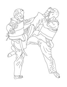 TAEKWONDO Combat Sport Coloring Page Let Your Imagination Soar And Color This With The Colors Of Choice