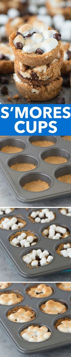 5 ingredient indoor S'mores Cups! Make these in a regular muffin pan. Like a cross between s& cookies and s& cupcakes! 5 ingredient indoor S'mores Cups! Make these in a regular muffin pan. Like a cross between smores cookies and smores cupcakes! No Bake Desserts, Easy Desserts, Delicious Desserts, Dessert Recipes, Yummy Food, Baking Desserts, Baking Cookies, Baking Cups, Baking Cupcakes